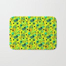 Retro . Colorful yellow green in multi-colored polka dots . Bath Mat