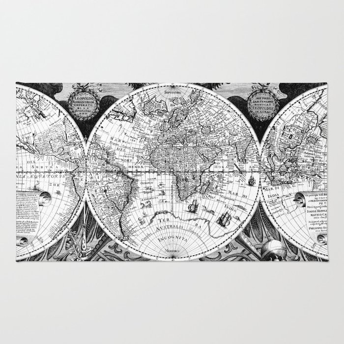 Black and white world map 1630 rug by bravuramedia society6 black and white world map 1630 rug gumiabroncs Images