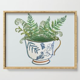 Fern in a Blue and White Tea Cup Serving Tray