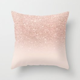 Rose gold faux glitter pink ombre color block Throw Pillow