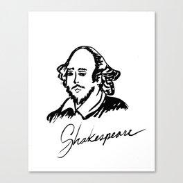 Shakespeare Author Portrait Original Ink Drawing Canvas Print