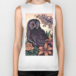 Great Grey Owl At Sunset Biker Tank