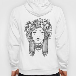 Black and White Flora Hoody