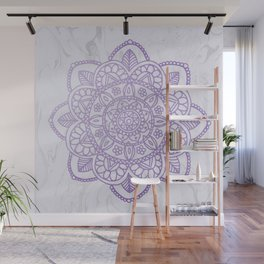 Lavender Mandala on White Marble Wall Mural