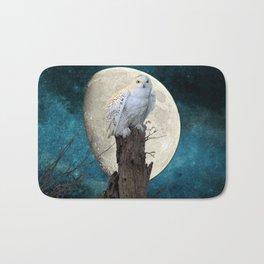 White Snowy Owl Bird Moon Blue A141 Bath Mat