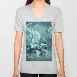cars and butterflies in moonlight Unisex V-Neck