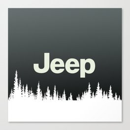 Jeep 'FOREST' White Canvas Print