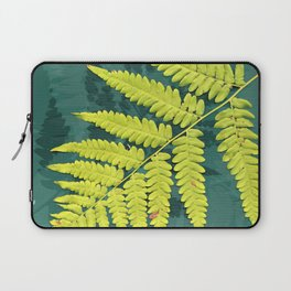 From the forest - lime green on teal Laptop Sleeve
