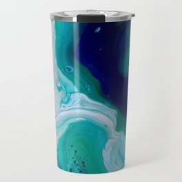 Abstract Mable Colorful Blue Turquoise Fluid Acrylic Painting Design Travel Mug