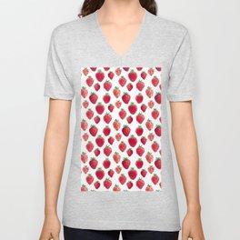 strawberry field pixels Unisex V-Neck