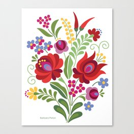 Hungarian Folk Design Red Peppers Canvas Print