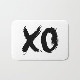 XO Hugs and Kisses black and white xoxo gift for her girlfriend bedroom art and home room wall decor Bath Mat