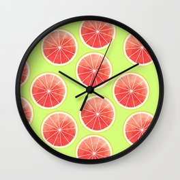Pink Grapefruit Slices Pattern Wall Clock