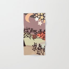 Quiet and peaceful night, cute owl snooze on the tree Hand & Bath Towel