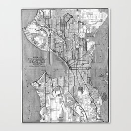 Vintage Map of Seattle Washington (1914) BW Canvas Print