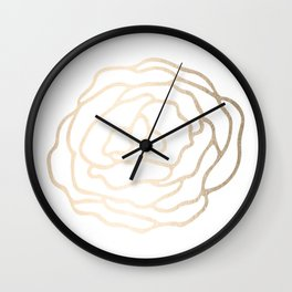 Flower in White Gold Sands Wall Clock