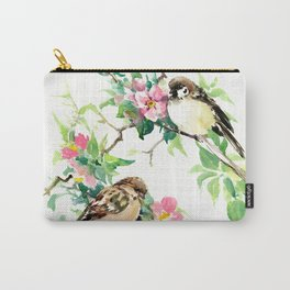 Sparrows and Apple Blossom Carry-All Pouch