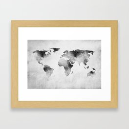 World Map - Hammered Metallic Monochrome Framed Art Print