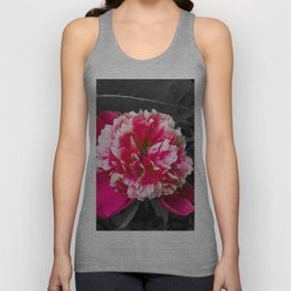 Paeony pink black and white Unisex Tank Top