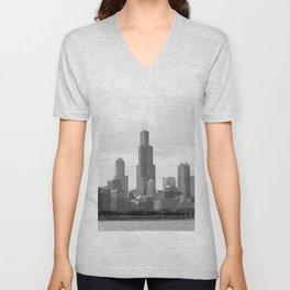 Chicago Skyline Black and White Unisex V-Neck