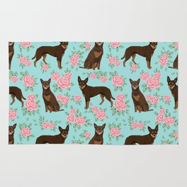 Kelpie florals dog breed cute gifts pattern dog lover pet portraits pet friendly designs Rug