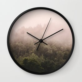 Pink Foggy Forest Landscape Photography Nature Earth Wall Clock