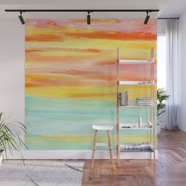 Summer Sunset Abstract Painting Stripes Pattern Modern - Be Yourself And Fall In Love Wall Mural