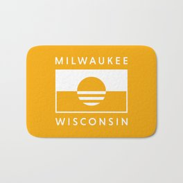 Milwaukee Wisconsin - Gold - People's Flag of Milwaukee Bath Mat