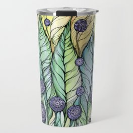 Dandelions.Hand draw  ink and pen, Watercolor, on textured paper Travel Mug