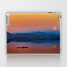 Kayaker on the Lake with Mountains and Setting Sun Laptop & iPad Skin
