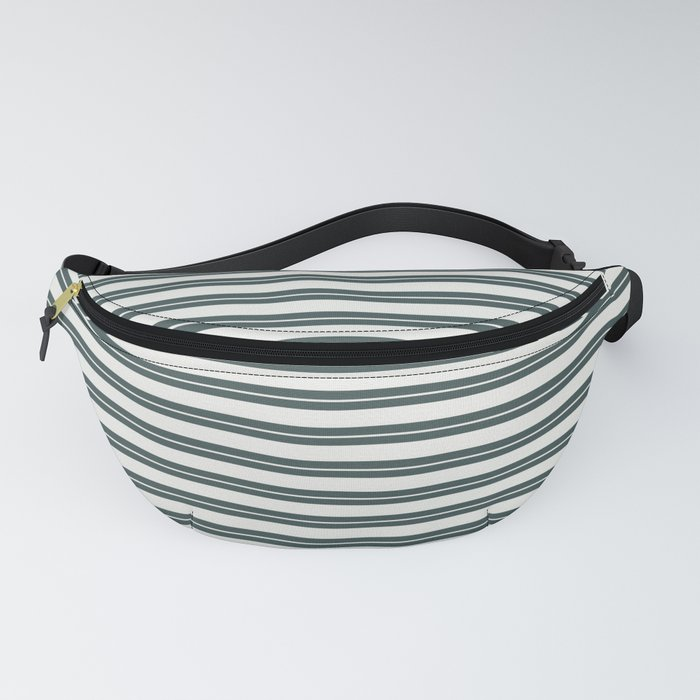 Delicate White PPG1001-1 Horizontal Stripes Pattern 1 on Night Watch PPG1145-7 Fanny Pack