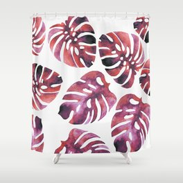 Monstera Red Shower Curtain