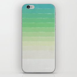 Shades of Ocean Water - Abstract Geometric Line Gradient Pattern between See Green and White iPhone Skin