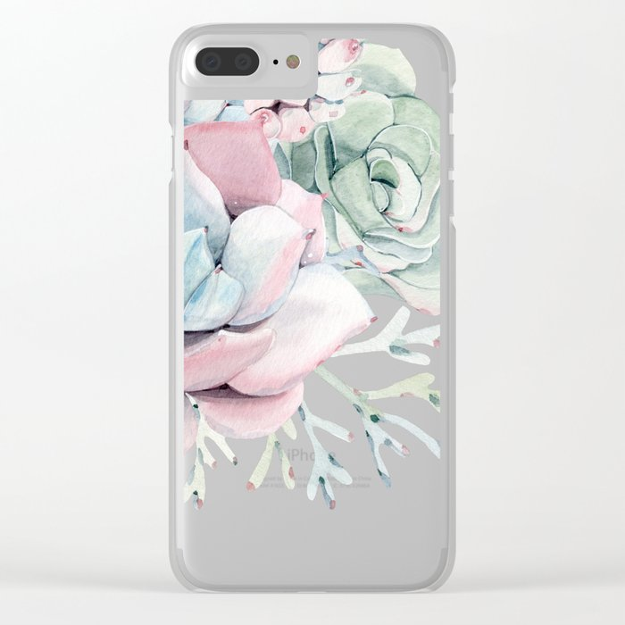 Garden of Succulents Clear iPhone Case