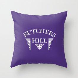 Butchers Hill Classic Logo on Purple Throw Pillow