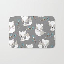 ARCTIC FOXES ON GREY Bath Mat