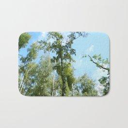 Nature. Blue Sky, Green Trees Bath Mat