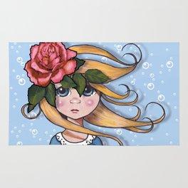 Big-Eyed Girl with Pink Rose on Head, Pop Surrealism, Original Art, Illustration Rug