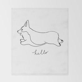 Pembroke Welsh Corgi - Hello Throw Blanket