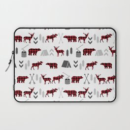 Camping cabin life chalet all day plaid moose deer bear pattern outdoors nature lover Laptop Sleeve