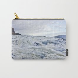 Closeup of the Rushing Waters Falling Down the Rocks of Gullfoss Waterfall in Iceland Carry-All Pouch