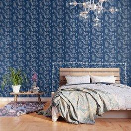 White Pine on Speckled Blue Wallpaper