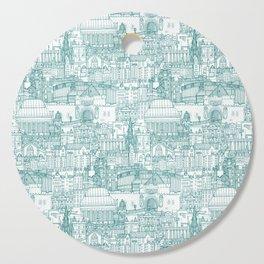 Edinburgh toile teal white Cutting Board