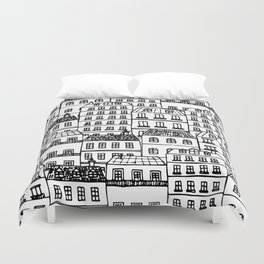 Paris Rooftops Sketch Duvet Cover