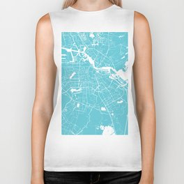 Amsterdam Turquoise on White Street Map Biker Tank
