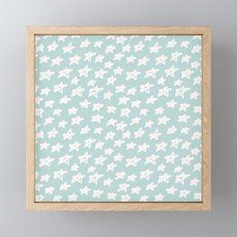 Stars on mint background Framed Mini Art Print
