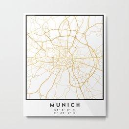 MUNICH GERMANY CITY STREET MAP ART Metal Print