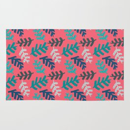Tropical Leaf Print Rug