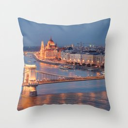 Chain Bridge at Dusk. Budapest. Throw Pillow