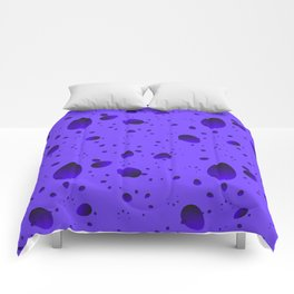 Large blueberry drops and petals on a light background in nacre. Comforters